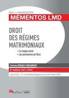 Couverture du livre « Droit des régimes matrimoniaux (édition 2017/2018) » de Corinne Renault-Brahinsky aux éditions Gualino