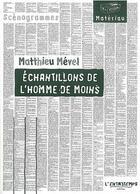 Couverture du livre « Échantillons de l'homme de moins » de Mevel Mathieu aux éditions L'entretemps