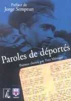 Couverture du livre « Paroles de deportes » de Collectif aux éditions Editions De L'atelier