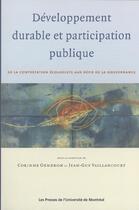 Couverture du livre « Développement durable et participation démocratique » de Corinne Gendron et Jean-Guy Vaillancourt aux éditions Pu De Montreal