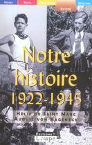 Couverture du livre « Notre histoire, 1922-1945 » de Helie De Saint Marc et August Von Kageneck aux éditions Editions De La Loupe