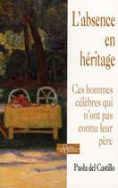 Couverture du livre « L'absence en héritage ; ces hommes célèbres qui n'ont pas connu leur père » de Paola Del Castillo aux éditions Dervy