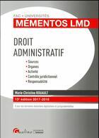 Couverture du livre « Droit administratif (édition 2017/2018) » de Marie-Christine Rouault aux éditions Gualino