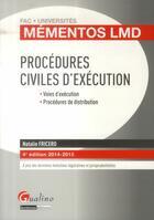 Couverture du livre « Procédures civiles d'exécution ; 2014-2015 (4e édition) » de Natalie Fricero aux éditions Gualino