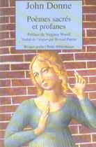 Couverture du livre « Poemes Sacres Et Profanes » de John Donne aux éditions Rivages