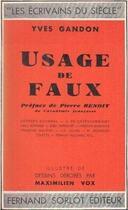 Couverture du livre « Usage de faux » de Yves Gandon aux éditions Nel