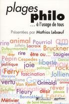 Couverture du livre « Plages philo... à l'usage de tous » de Mathias Leboeuf aux éditions Tallandier