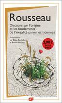 Couverture du livre « Discours sur l'origine et les fondements de l'inégalité parmi les hommes » de Jean-Jacques Rousseau aux éditions Flammarion