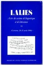 Couverture du livre « REVUE LALIES T.11 » de Jean Lallot aux éditions Rue D'ulm