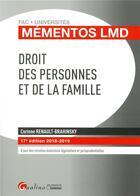 Couverture du livre « Droit des personnes et de la famille (édition 2018/2019) » de Corinne Renault-Brahinsky aux éditions Gualino