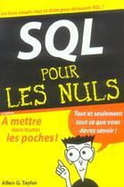 Couverture du livre « Sql (2e édition) » de Allen G. Taylor aux éditions First Interactive