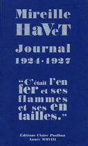 Couverture du livre « Journal 1924-1927 » de Mireille Havet aux éditions Claire Paulhan