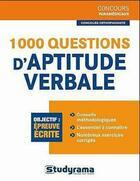 Couverture du livre « 1000 questions d'aptitude verbale » de Angelique Barneto aux éditions Studyrama