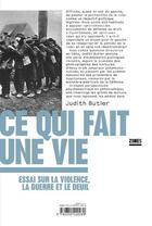 Couverture du livre « Ce qui fait une vie ; essai sur la violence, la guerre et le deuil » de Judith Butler aux éditions Zones