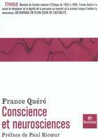 Couverture du livre « Conscience et neurosciences » de France Quere aux éditions Bayard