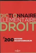 Couverture du livre « Dictionnaire élémentaire du droit (2e édition) » de Collectif et Dominique Chagnollaud aux éditions Dalloz