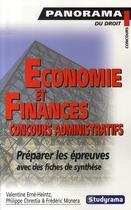 Couverture du livre « Économie et finances : concours administratifs » de Frederic Monera et Philippe Chrestia aux éditions Studyrama