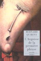 Couverture du livre « L Angoisse De La Premiere Phrase » de Bernard Quiriny aux éditions Phebus