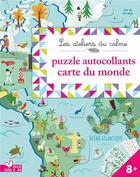 Couverture du livre « Autocollants puzzles carte du monde - pochette avec accessoires » de Vortemann Claire aux éditions Deux Coqs D'or