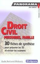 Couverture du livre « Droit civil personnes familles » de Bertrand-Mirkovic A. aux éditions Studyrama