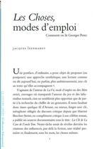 Couverture du livre « Les choses, modes d'emploi ; comment on lit Georges Perec » de Jacques Leenhardt aux éditions Lettre Volee