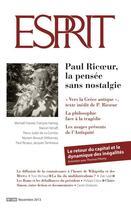 Couverture du livre « REVUE ESPRIT T.399 ; Paul Ricoeur, la pensée sans nostalgie » de Revue Esprit aux éditions Revue Esprit