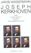 Couverture du livre « Joseph Kerkhoven » de Jakob Wassermann aux éditions Memoire Du Livre