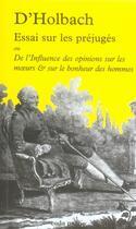 Couverture du livre « Essai sur les préjugés ou de l'influence des opinions sur les moeurs et sur le bonheur des hommes » de D'Holbach aux éditions Coda