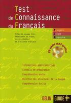 Couverture du livre « Test de connaissance du français » de Jean-Louis Boursin aux éditions Belin Education