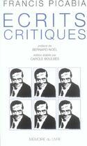 Couverture du livre « Ecrits critiques et autres textes » de Francis Picabia aux éditions Memoire Du Livre