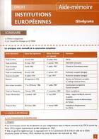 Couverture du livre « Institutions européennes » de Pascal Geneau aux éditions Studyrama