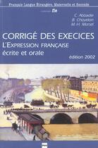Couverture du livre « Expression francaise - corriges » de Morsel/Chovelon aux éditions Pu De Grenoble