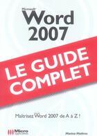 Couverture du livre « Word 2007 » de Marina Mathias aux éditions Micro Application