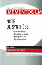 Couverture du livre « Note de synthèse (édition 2017/2018) » de Michel Deyra aux éditions Gualino