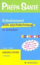 Couverture du livre « Entrainement Tests Psychotechniques Et Entretien » de Gassier et Muler aux éditions Elsevier-masson