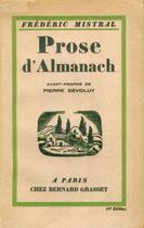 Couverture du livre « Prose d'Almanach » de Frederic Mistral aux éditions Epagine