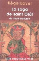 Couverture du livre « La saga de saint olaf de snorri sturluson » de Regis Boyer aux éditions Payot
