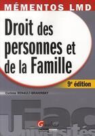 Couverture du livre « Droit des personnes et de la famille (9e édition) » de Corinne Renault-Brahinsky aux éditions Gualino