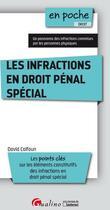 Couverture du livre « Les infractions en droit pénal spécial ; les points clés sur les éléments constitutifs des infractions en droit pénal spécial » de David Calfoun aux éditions Gualino