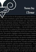 Couverture du livre « L'erreur » de Thomas Day aux éditions Le Belial