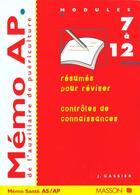 Couverture du livre « Memo Ap De L'Auxiliaire De Puericulture, Modules Specifiques 7 A 12 » de Gassier aux éditions Elsevier-masson