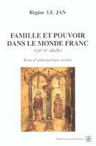 Couverture du livre « Famille Et Pouvoir Dans Le Monde Franc (Viie-Xe Siecles) » de Le Jan R aux éditions Publications De La Sorbonne