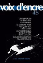 Couverture du livre « Revue voix d'encre N.45 » de Revue Voix D'Encre aux éditions Voix D'encre