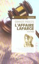 Couverture du livre « Affaire Lafarge (L) » de Gerard Robin aux éditions De Vecchi