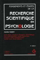 Couverture du livre « Recherche scientifique en psychologie » de Robert M aux éditions Edisem