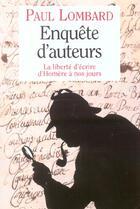 Couverture du livre « Enquete d'auteurs » de Paul Lombard aux éditions Grasset Et Fasquelle