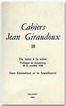 Couverture du livre « CAHIERS JEAN GIRAUDOUX T.10 » de Jean Giraudoux aux éditions Grasset