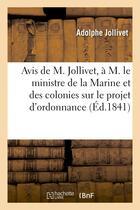 Couverture du livre « Avis de m. jollivet, a m. le ministre de la marine et des colonies sur le projet d'ordonnance » de Jollivet Adolphe aux éditions Hachette Bnf