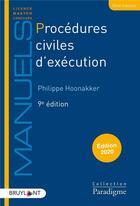 Couverture du livre « Procédures civiles d'exécution (édition 2020) » de Philippe Hoonakker aux éditions Bruylant