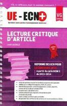 Couverture du livre « Ue-Ecn+ Lecture Critique D'Article » de Louis Lassalle aux éditions Vernazobres Grego